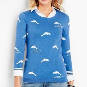 Talbots blue dolphin sweater